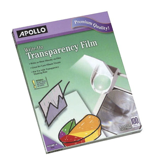 Write On Transparency Film, 100 Sheets/Box