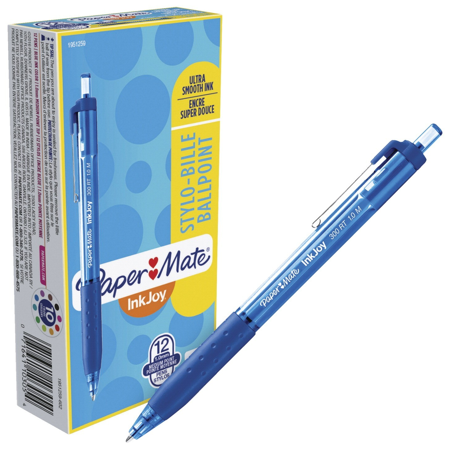 Paper Mate InkJoy Pen, 300 RT Retractable, 1.0MM - 12/Pkg - Blue