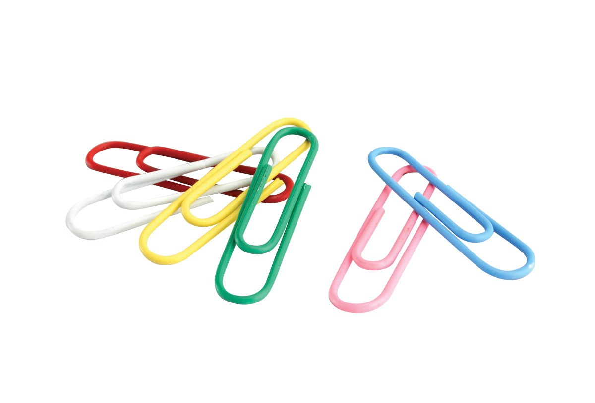 "1-1/4"" Paper Clip, Vinyl Coated, Standard, Assorted Color - 100/Pkg"