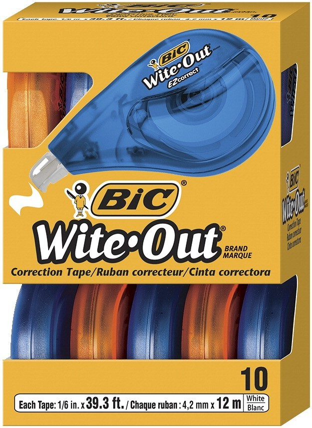 BIC Wite-Out Correction Tape, 1/5 In, White - 10/Pkg