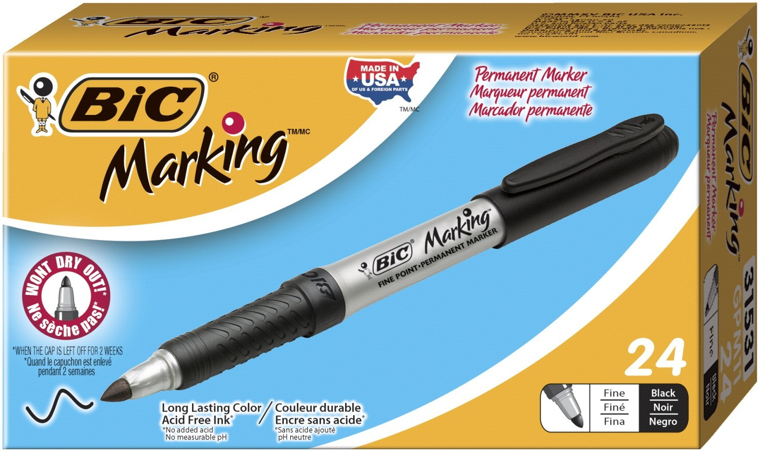 BIC Marking Acid-Free Non-Toxic Permanent Marker, Fine Tip, Black, Pack of 24