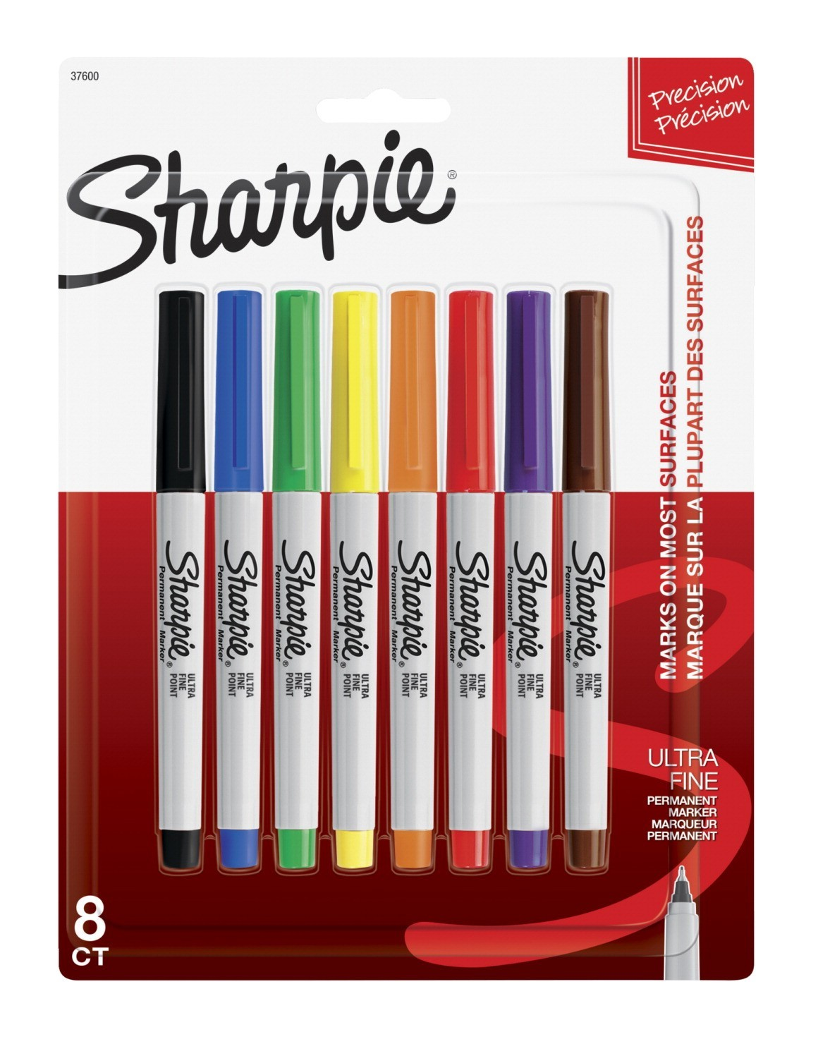 Sharpie Non-Toxic Waterproof Permanent Marker, Ultra Fine Tip, Assorted Color, Pack of 8
