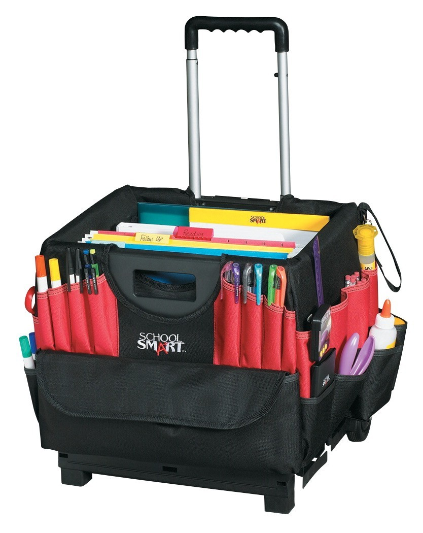 school smart folding cart with caddy