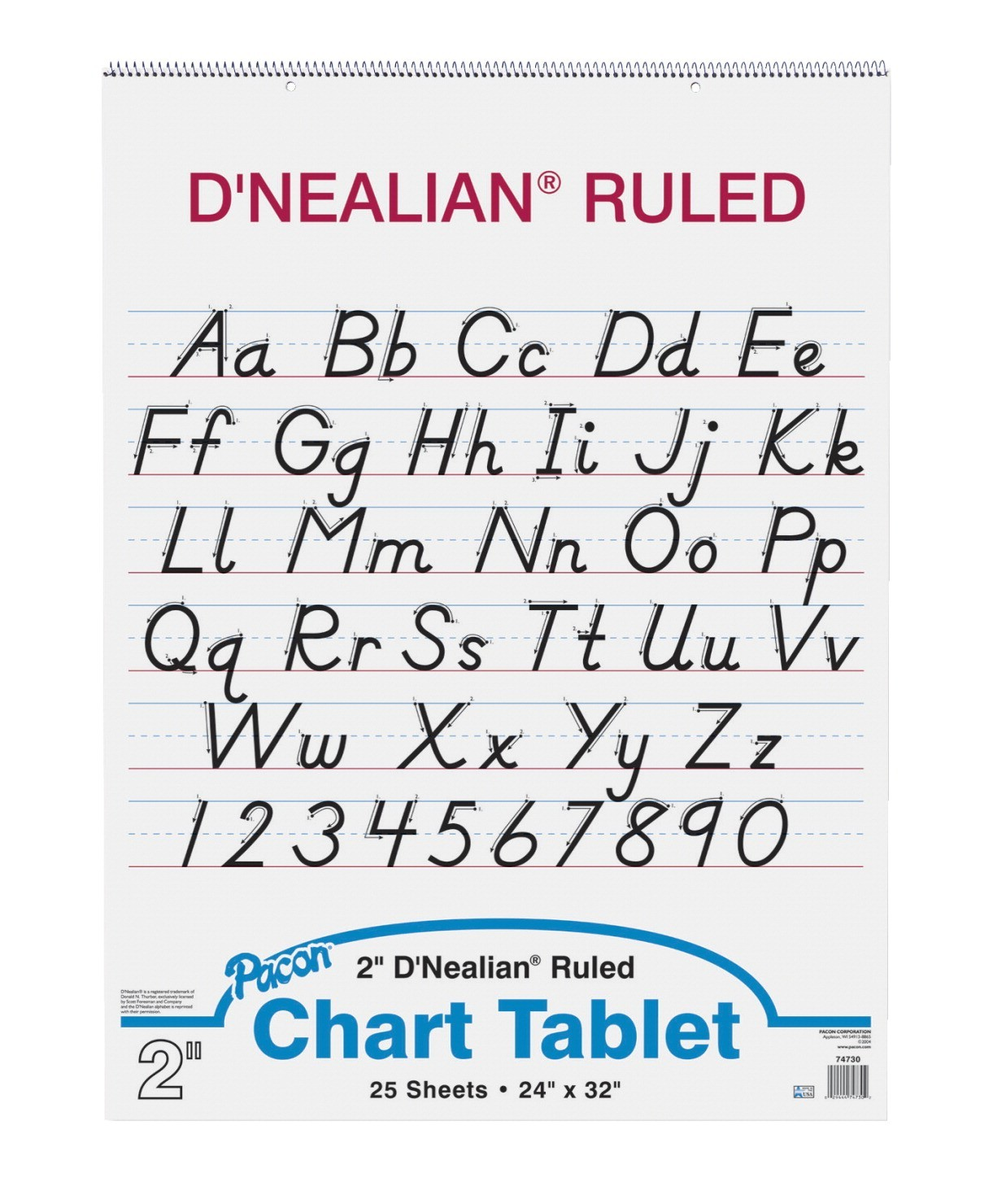 D'Nealian 24 X 32 Chart Tablet, Ruled 2 in, 25 Sheets