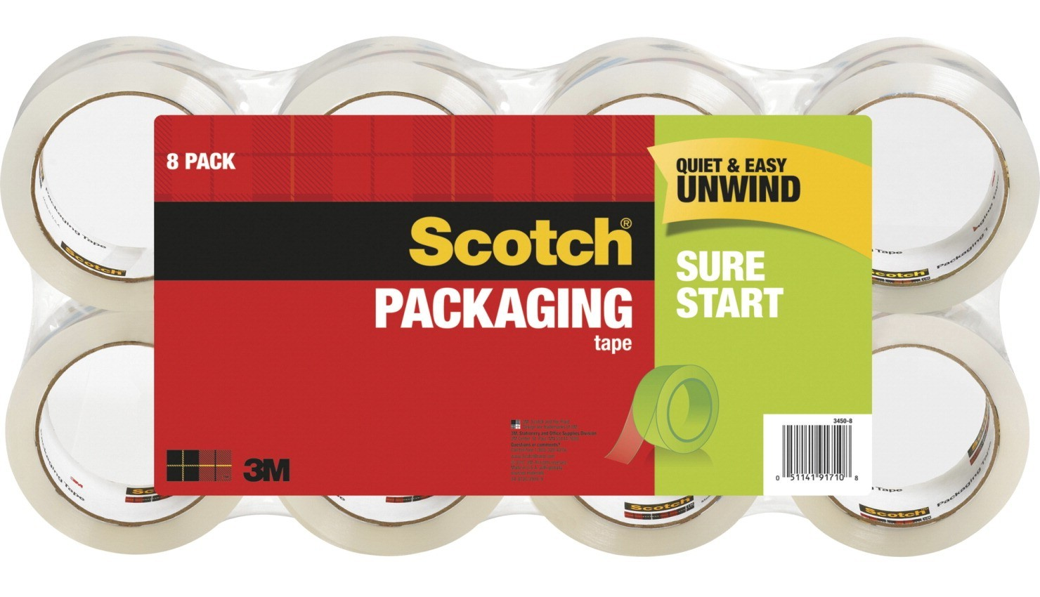 "1-7/8"" X 54.6 Yds. Scotch Shipping Packaging Tape, Clear - 8/Pkg"