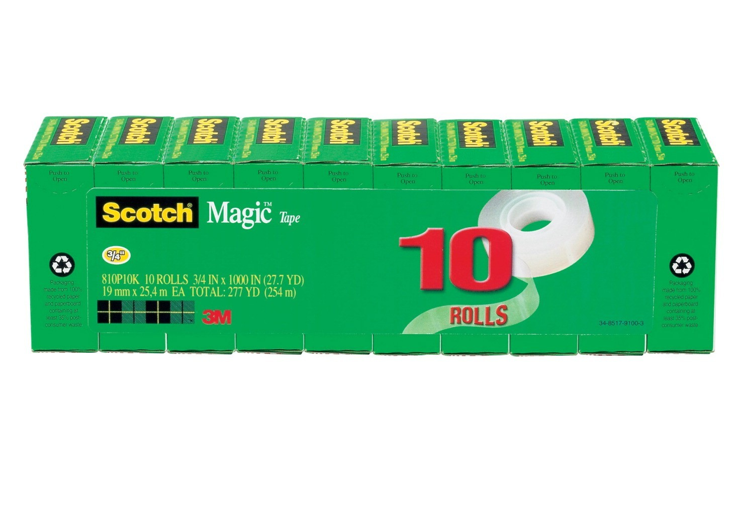 "3/4 X 1000"" Scotch 810 Invisible Tape, Matte Clear, 1"" Core, 10/Pkg"