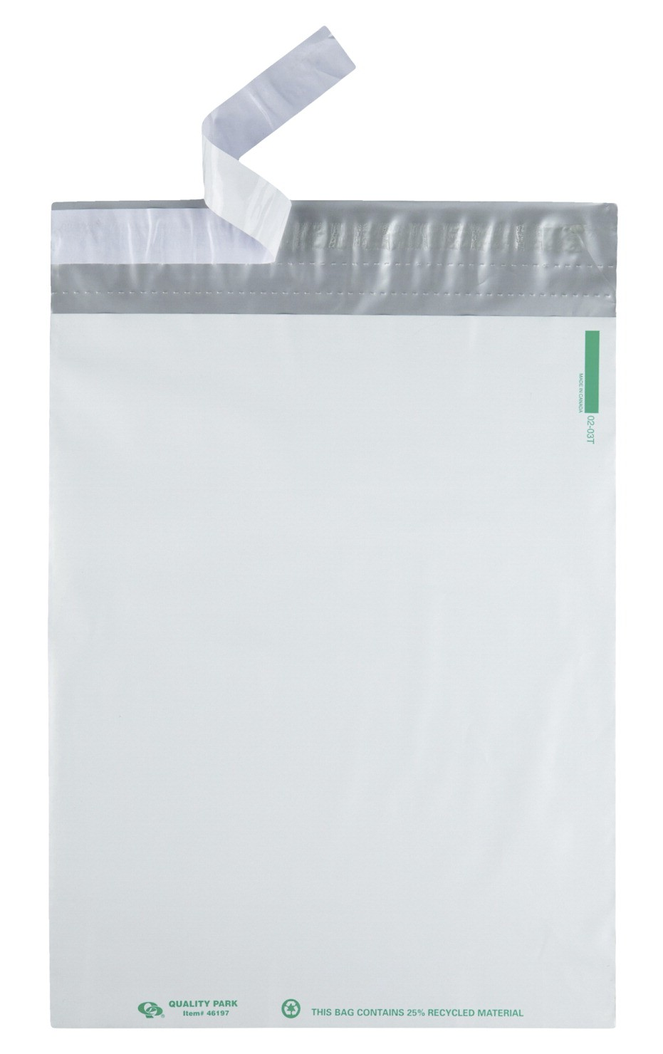 10 X 13 Plastic Mailing Envelopes, Double Perforation, Redi-Strip Adhesive Closure, White - 100/Pkg