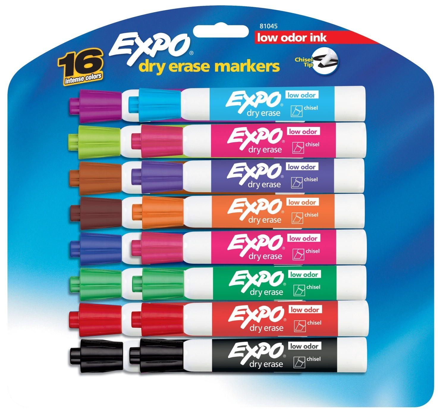 Expo Dry Erase Markers, Fine Tip, Low Odor - Assorted Colors - 16/Set - SAN81045