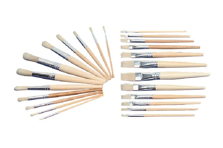 White Bristle Brush, Flat, Round, Assorted - 24/Set