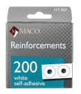 "Self-Adhesive Paper Reinforcements, 1/4"", White - 200/Pkg"