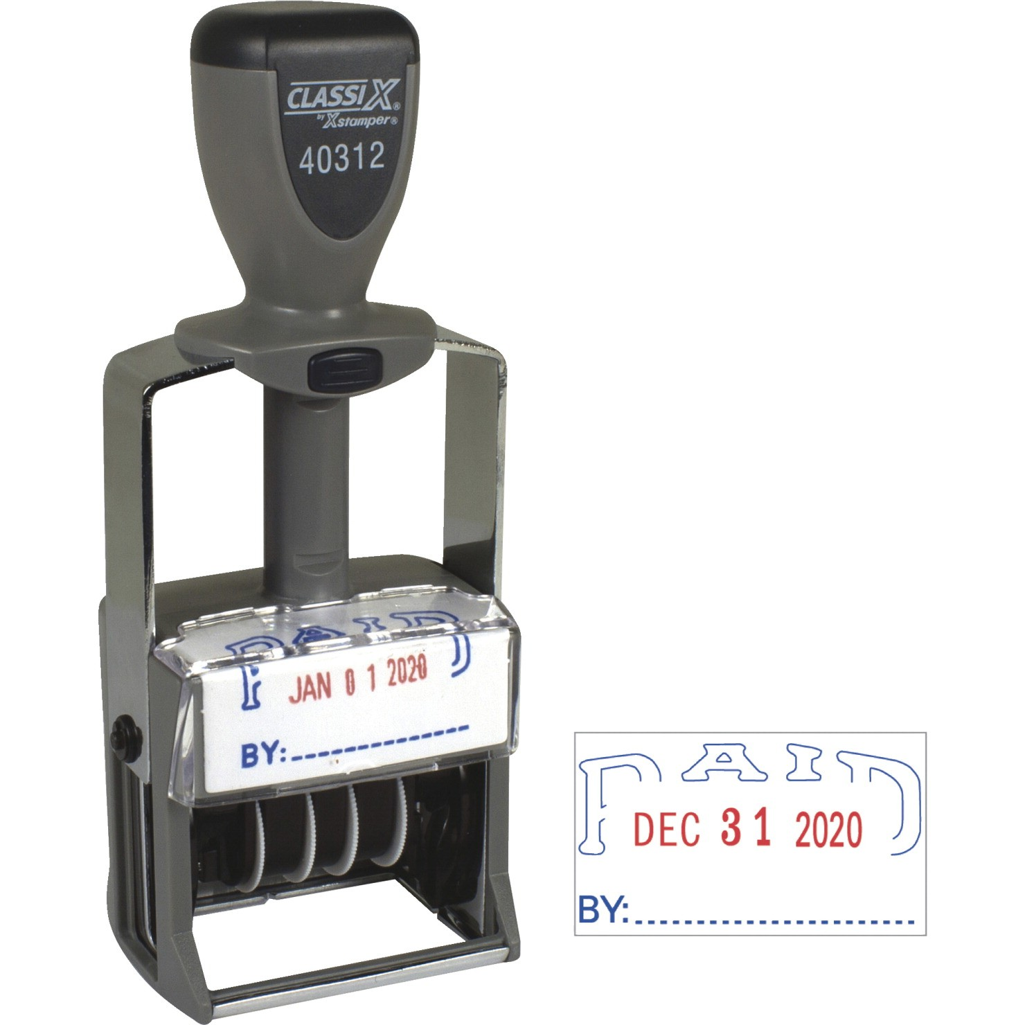 Dater Stamp 'Paid' - Self Inking Line - Red/Blue