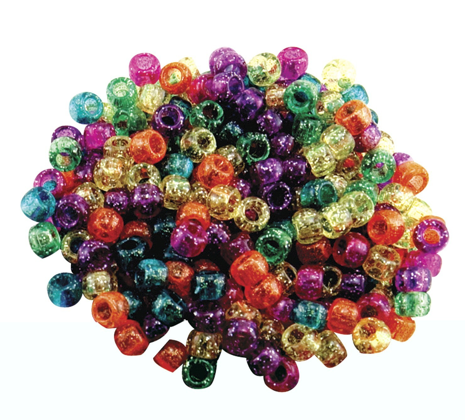 Hygloss Plastic Pony Bead, Assorted Glitter Color, Pack of 1000