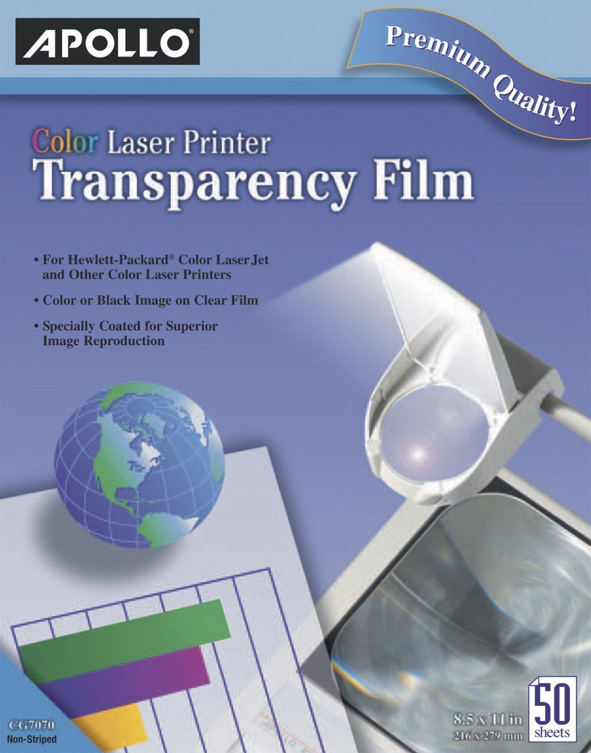 Color Laser Transparency Film, 8-1/2 X 11, Clear, 50 Sheets Per Box