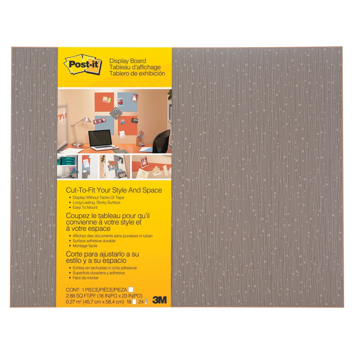 Post-It Cut-To-Fit Display Board, 18 X 23, Mocha