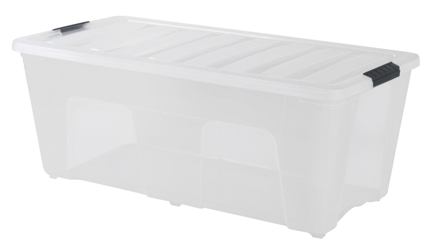 Storage Box with Handle, 22 X 16-1/2 X 13 In., 53.6 Qt, Plastic, Clear/Black