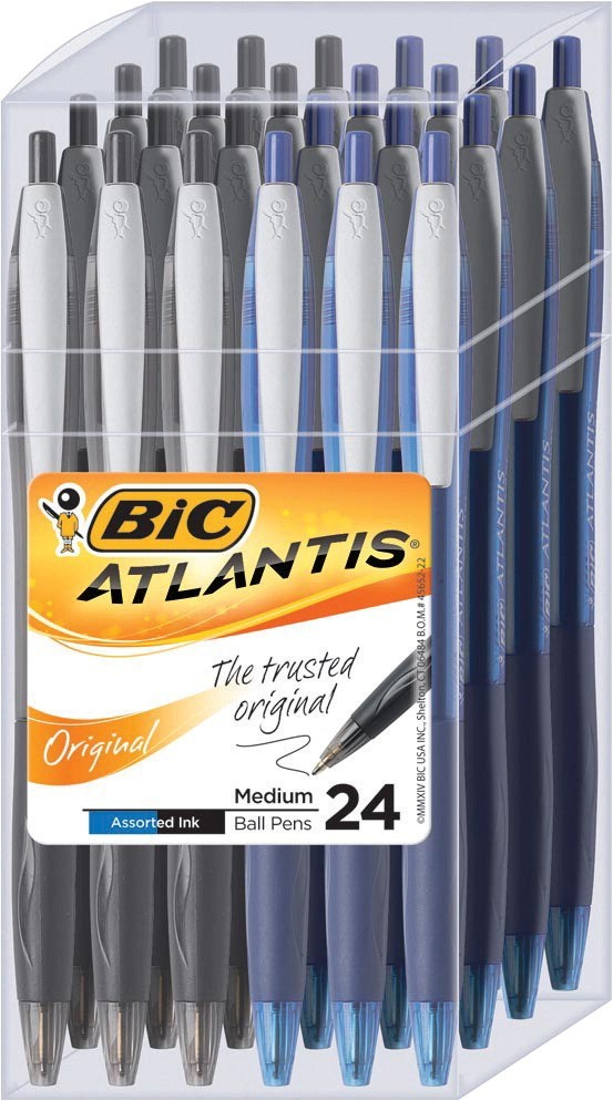 Bic Atlantis Retractable Ball Point Pen, Medium Tip - 24/Pkg - Black/Blue