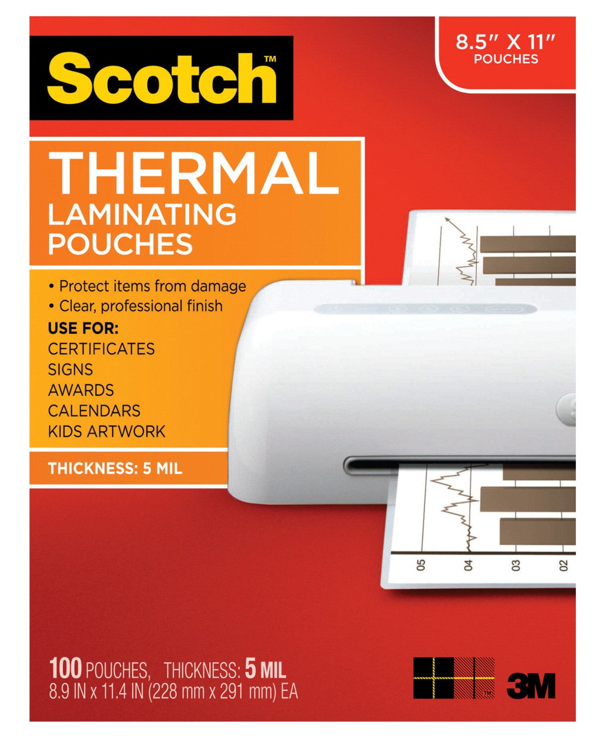 Scotch Thermal Laminating Pouch, Letter, 8-9/10 X 11-2/5 In., 3 mil., Clear - 100/Pkg