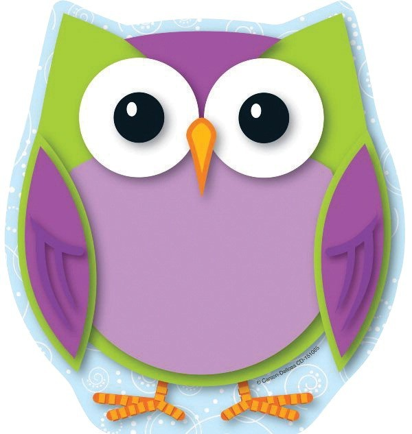 Carson-Dellosa Colorful Owl Notepad, 50 Sheets, Pack of 50