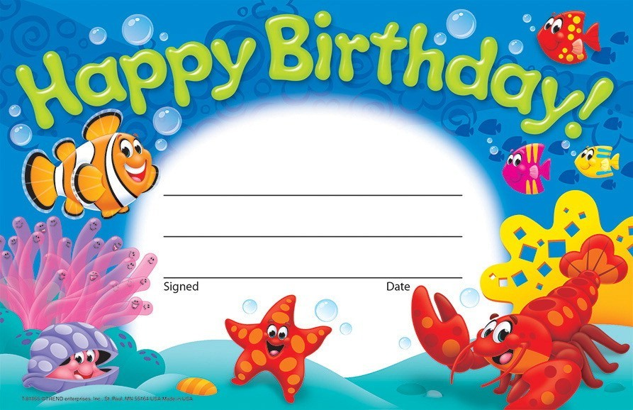 Sea Buddies Happy Birthday Recognition Awards, 30/Pkg