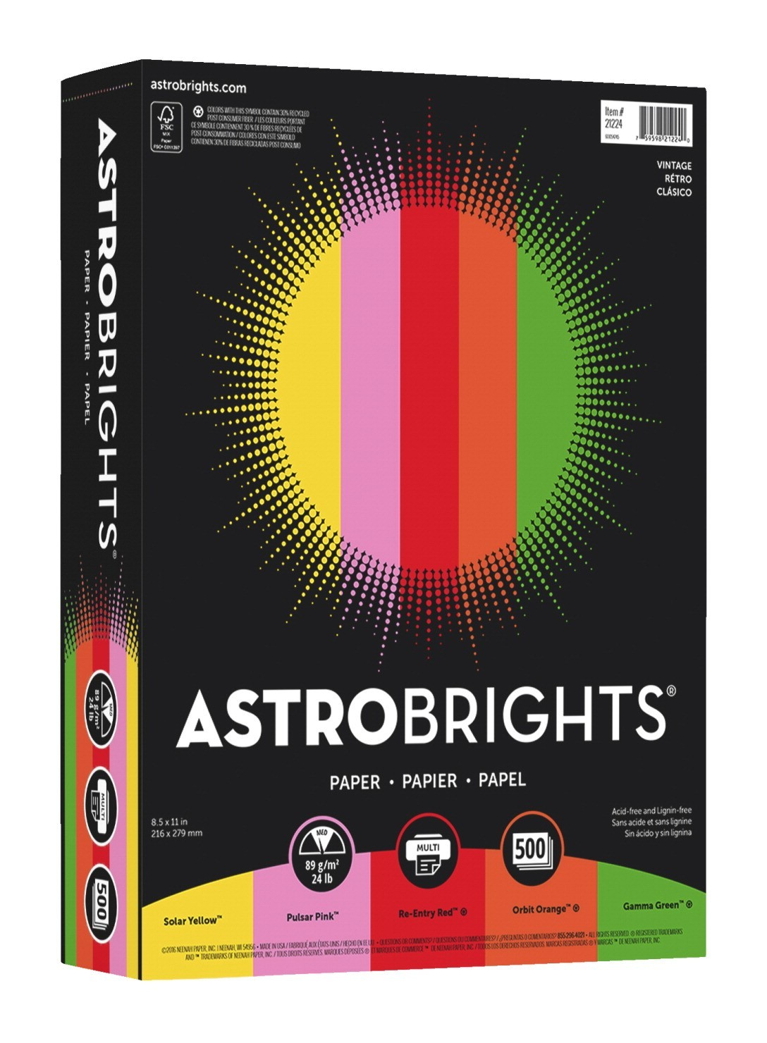 8-1/2 X 11 Astrobrights Colored Paper, 24lb., Assorted Vintage Colors - 500/Ream