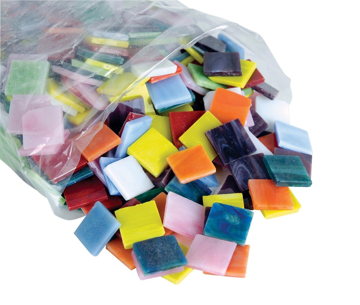 Stained Glass Tiles - Mosaic Glass Chip Assortment 3/4 x 3/4 , 4lbs/Bag (450/bag) - Assorted Solid Colors