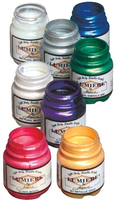 Jacquard Non-Toxic Lumiere Paint Set, 2.25 oz Bottle, Assorted Metallic and Pearlescent Color, Set of 8