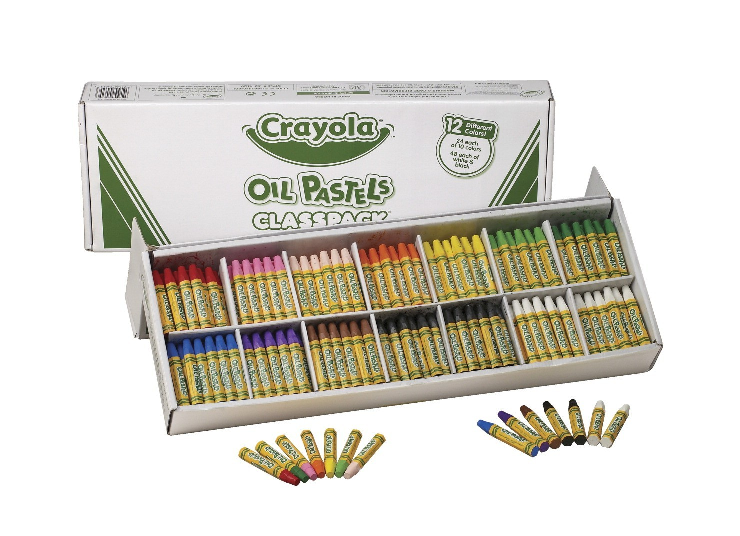 "Crayola Hexagonal Non-Toxic Jumbo Oil Pastel Stick Classroom Pack, 7/16 X 3"", Assorted Color, Pack of 336"