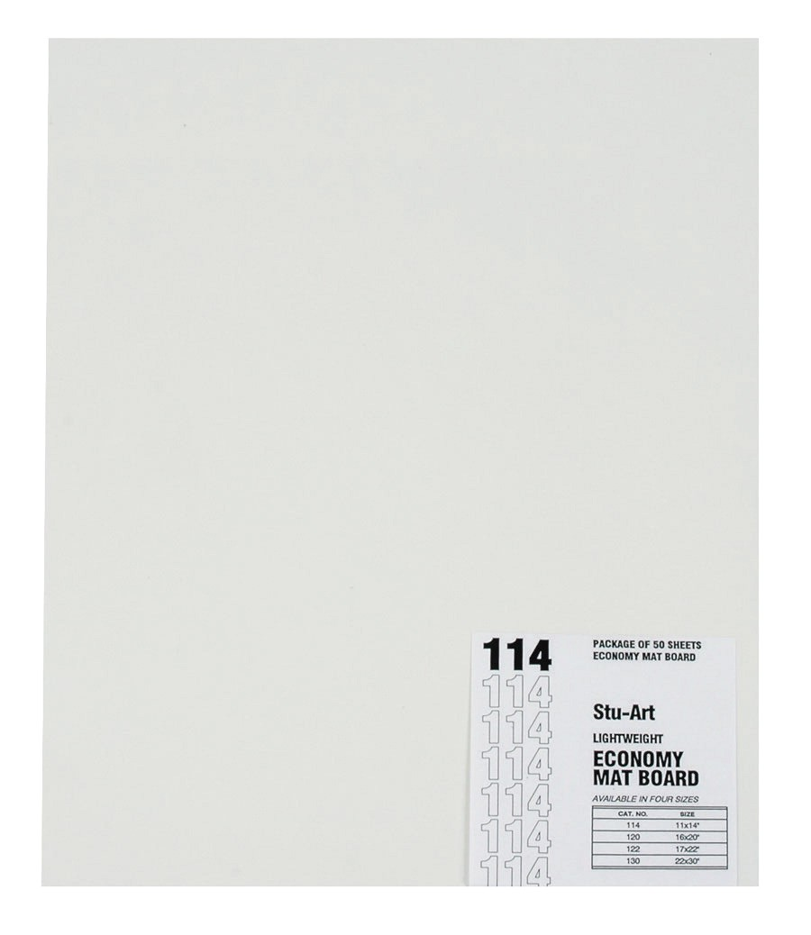 17 X 22 Light-Weight Mat Board, 6-Ply, White Pebbled - 50/Pkg
