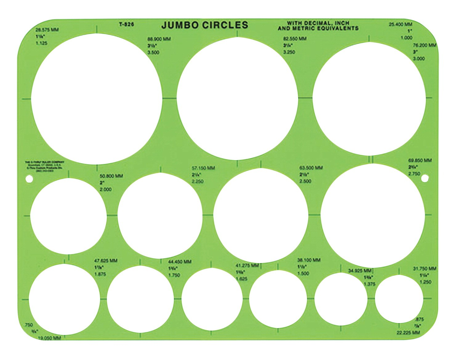C-Thru Jumbo Circles Geometric Template, 8-3/4 X 11-1/2""
