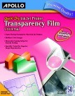 Apollo Quick Dry Transparency Film For Ink Jet Printers, 8-1/2 X 11, Removable Sensing Strip - 50/Pkg
