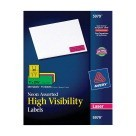 1 X 2-5/8, Avery 5979 Address Labels, Assorted Neon Colors - 450/Pkg
