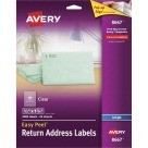 1/2 X 1-3/4 Avery Clear Return Address Labels, Permanent, Clear - 2000/Pkg