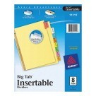 8-Tab Insertable Dividers, 8-1/2 X 11, Reinforced - Buff/Multiple Color