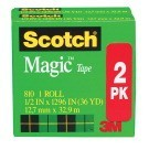 "1/2 X 1296"" Scotch Magic Invisible Tape, 1"" Core, Matte Clear - 2/Pkg"