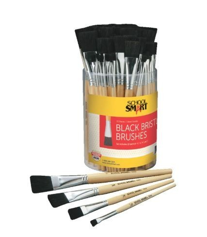 School Smart Interlocked Black Bristle Short Handle Paint Brush Set, Assorted Size, Clear, Set of 72