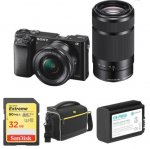 Sony Digital Camera Alpha a6000 Mirrorless with 16-50mm and 55-210mm Lenses with Free Accessories Kit (Black)