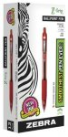 Zebra Z-Grip Retractable Ball Point Pen, Medium Point - 12/Pkg - Red - 1315404