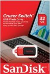 32GB Drive - Flash Drive - SanDisk Cruzer Switch USB 2.0, Flip-top Design, SecureAccess Software, Keychain Loop - SDCZ52-032G-B35