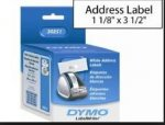 "1-1/8"" X 3-1/2"" Address Labels, Dymo - 260 Labels/Roll - 2 Rolls/Box - 30251"