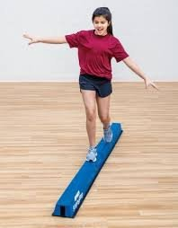 "Simple step portable foam gymnastics balance beam.  Durable vinyl cover.  4""w top and 6"" w non slip base.  94""L, folds in half. - 10711"