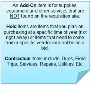 Hold/Contractual/Add-On Item
